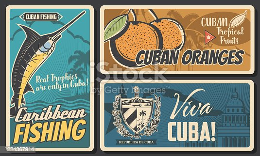 Cuba travel, culture landmarks and entertainment. Cuban tropical orange fruits, caribbean fishing tours, Cuba map, flag and coat of arms, Capitol building vintage vector posters