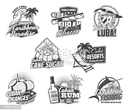 Cuba Havana travel, Caribbean holidays paradise and Cuban cigar icons. Vector Viva Cuba sign with map and flag, sea fishing tours, rum cocktail and tropical hotel resort, oranges and cane sugar