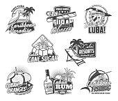Cuba travel landmarks, tobacco, food and drinks