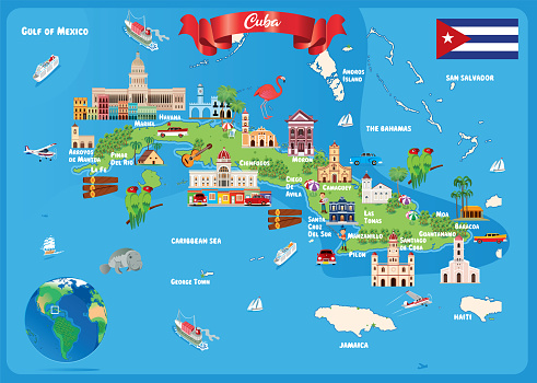 Cuba Travel Map, Havana, Santiago de Cuba, Camaguey, Holguin, Santa Clara, Guantánamo, Bayamo, Las Tunas, Cienfuegos, Pinar del Río, Matanzas, Ciego de Avila, Sancti Spiritus, Manzanillo, Cardenas, Palma Soriano, Moa,
