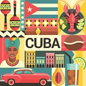 Vector illustration with Cuban culture and food icons, including maracas, retro car, dish with lobster, architecture and portrait of Cuban Woman in trendy flat style.