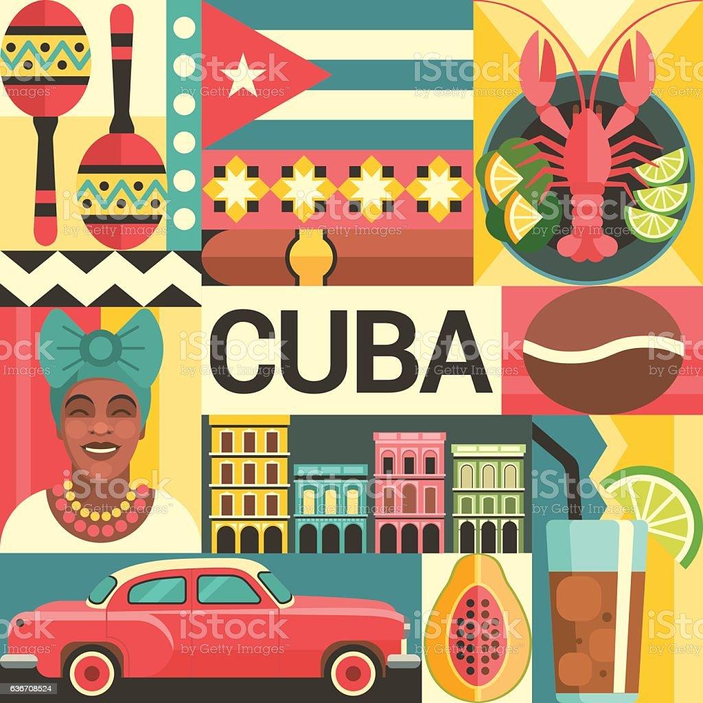 Cuba travel poster concept. vector art illustration