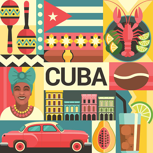 Cuba Travel Poster Concept Vector Art Illustration