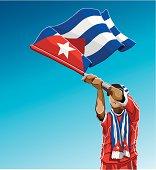 Cuba Waving Flag Soccer Fan