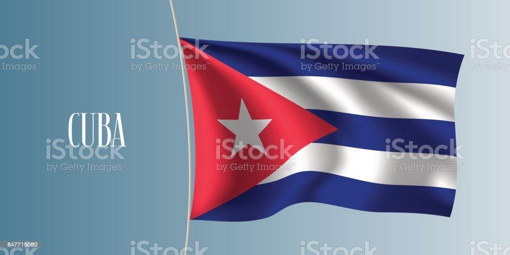 Cuba ondeando bandera vector ilustración - ilustración de arte vectorial