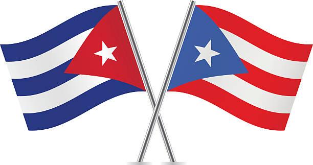 Cubano y banderas de Puerto Rico.  Vector. - ilustración de arte vectorial
