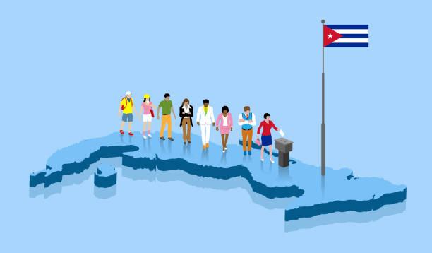 ilustrações de stock, clip art, desenhos animados e ícones de cuban citizens are voting for election over a cuba map - afro latino mask