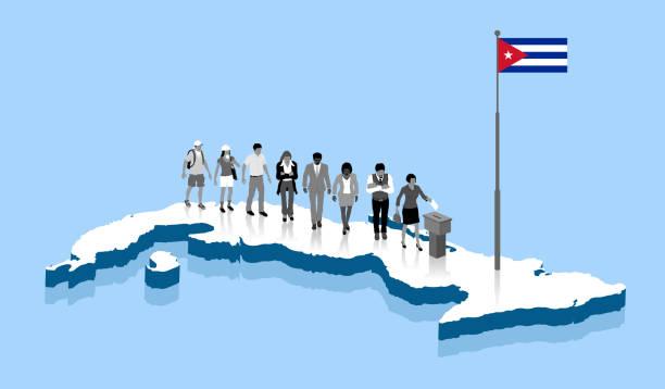 ilustrações de stock, clip art, desenhos animados e ícones de cuban citizens are voting in ballot box over a cuba map - afro latino mask