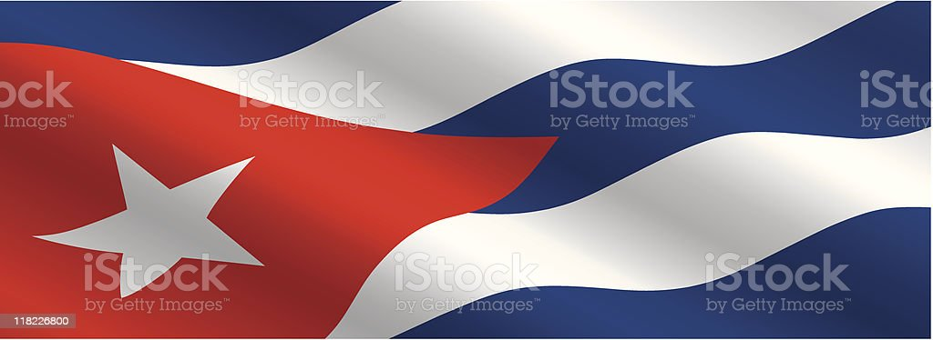 Cuban Flag Flying in the Wind royalty-free stock vector art
