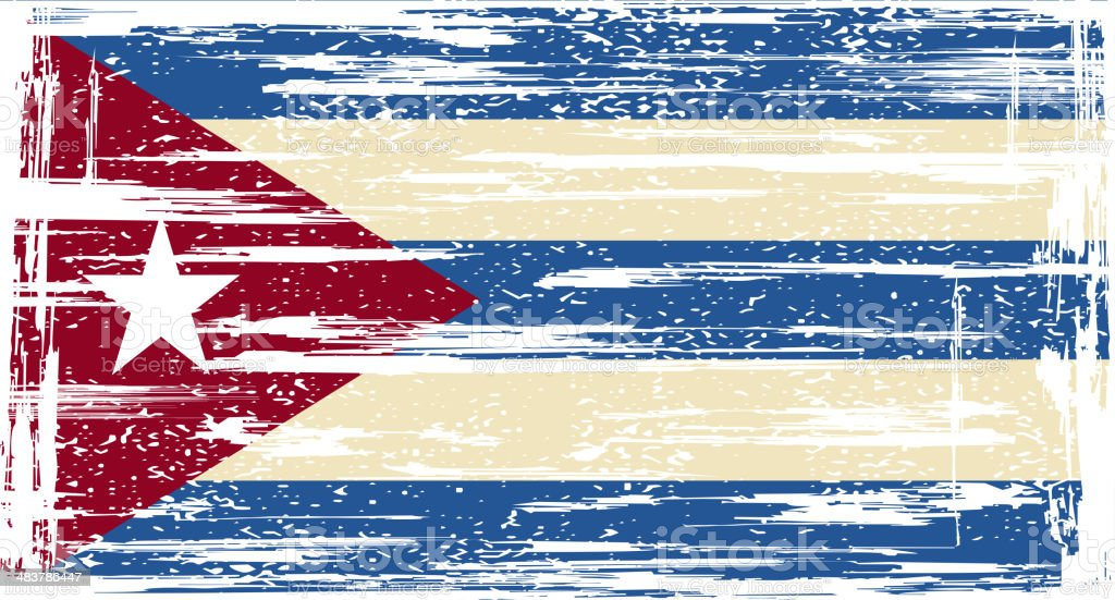 Cuban grunge flag vector art illustration