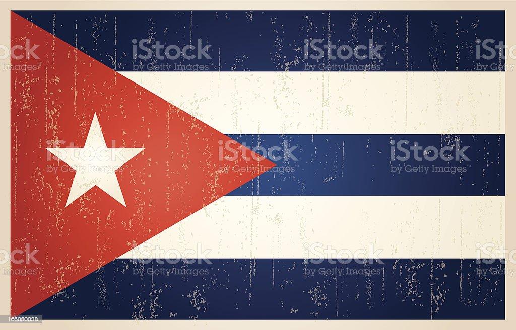 Cuban grunge vintage flag vector art illustration