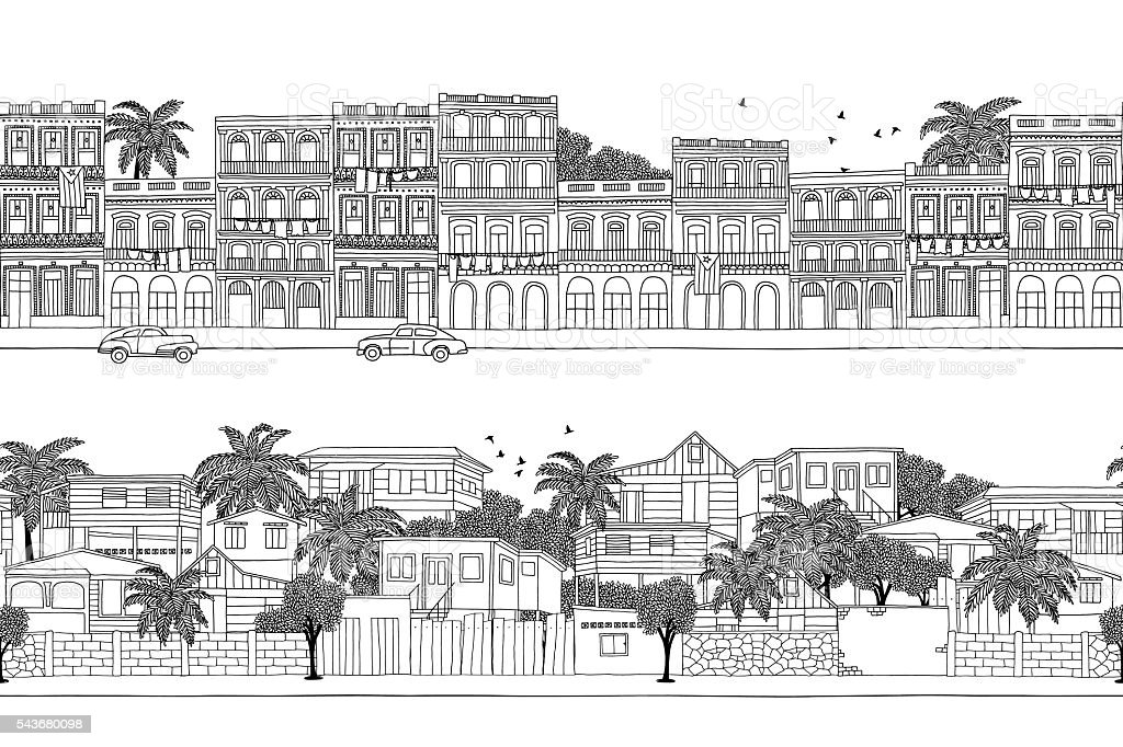 Cuban houses and Caribbean village vector art illustration