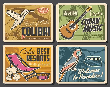 Cuban map, royal palm and parrot, guitar, mariposa
