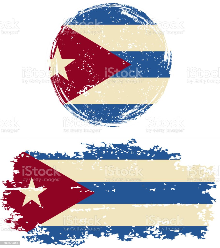 Cuban round and square grunge flags. Vector illustration vector art illustration