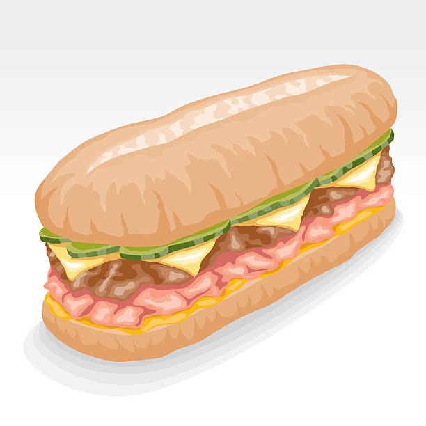 cuban sandwich - sub sandwich stock illustrations, clip art, cartoons, & icons