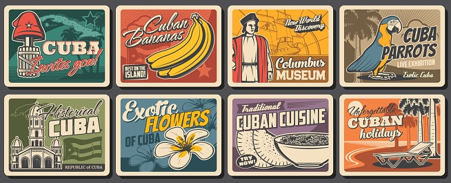 Cuban travel, food, nature and culture posters