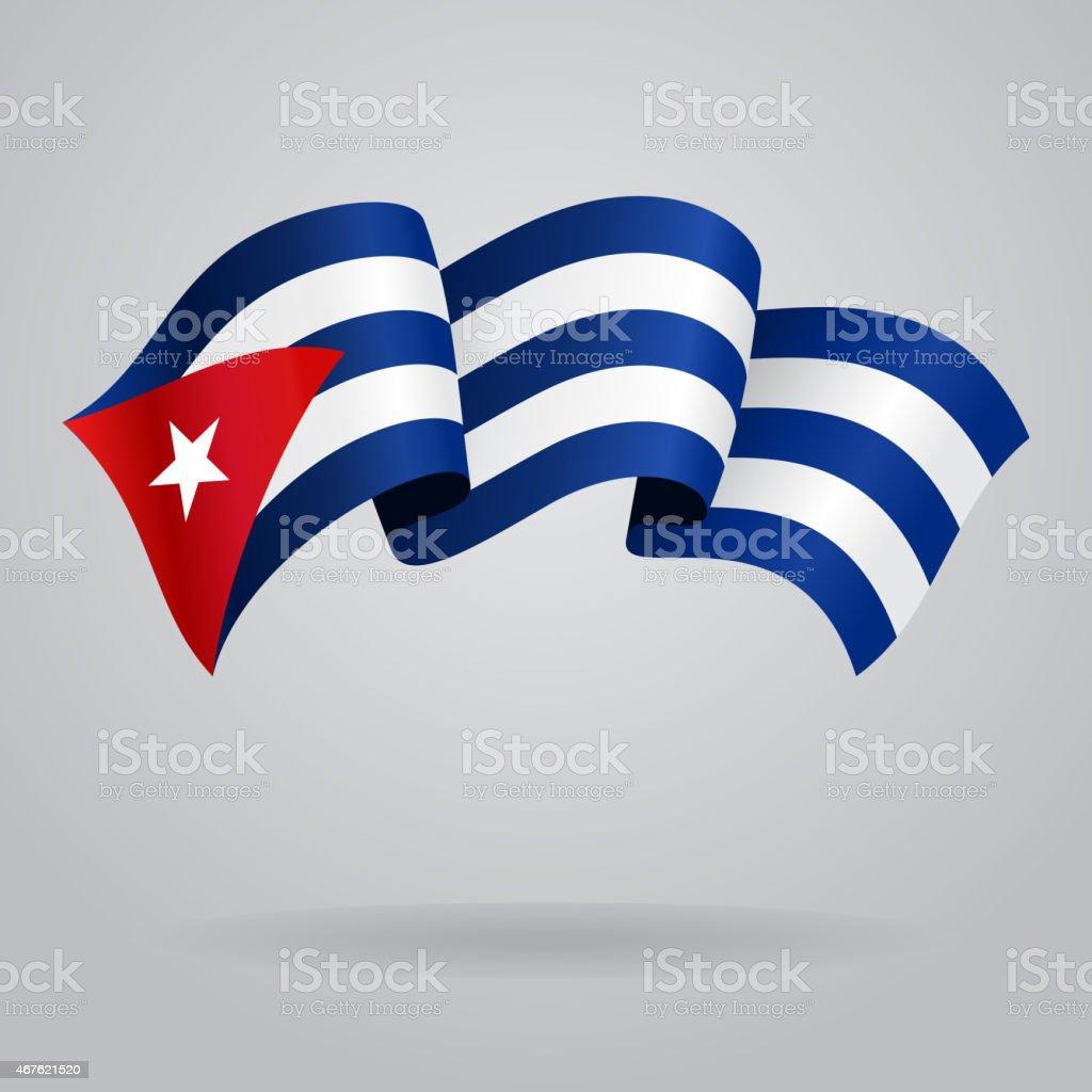 Cuban waving Flag. Vector illustration vector art illustration