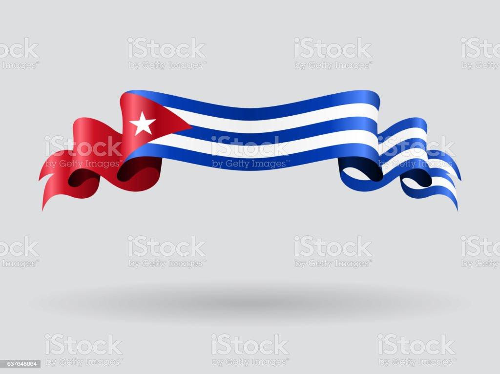 wavy bandera cubana. Ilustración de vectores. - ilustración de arte vectorial