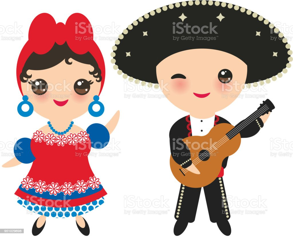 ... Cubans boy and girl in national costume and hat. Cartoon children in traditional Cuba dress ...  sc 1 st  iStock & Kids In Traditional Costumejamaicacubamexico Stock Vector Art u0026 More ...