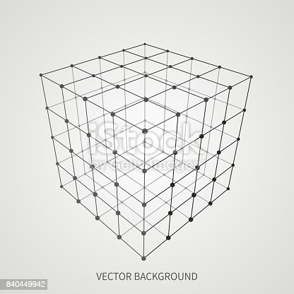 istock Cube 3d mesh wireframe. Web and data connection vector concept 840449942