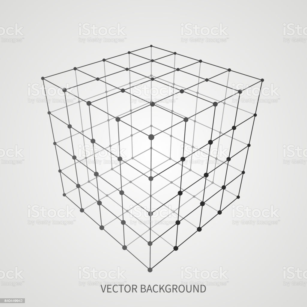 Cube 3d mesh wireframe. Web and data connection vector concept vector art illustration