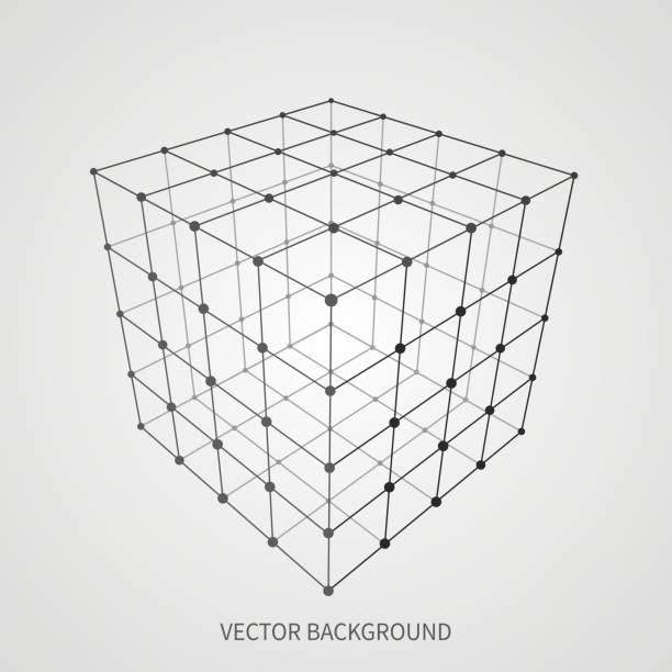Cube 3d mesh wireframe. Web and data connection vector concept Cube 3d mesh wireframe. Web and data connection vector concept. Model complex object 3d square, geometric box structure wireframe illustration cube shape stock illustrations