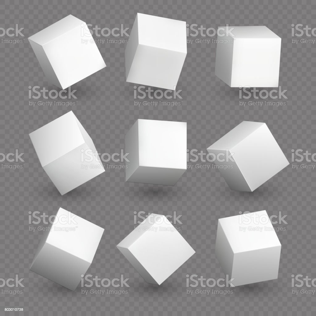 Cube 3d models in perspective. Realistic white blank cubes with shadows isolated vector art illustration