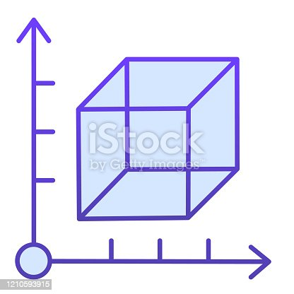 istock Cube and coordinates system flat icon. Isometric drawing slide. Geometry subject vector design concept, gradient style pictogram on white background. 1210593915