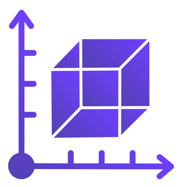 Cube and coordinates system flat icon. Isometric drawing slide. Geometry subject vector design concept, gradient style pictogram on white background. Cube and coordinates system flat icon. Isometric drawing slide. Geometry subject vector design concept, gradient style pictogram on white background architecture borders stock illustrations