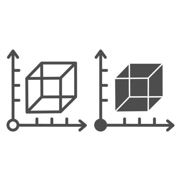 Cube and coordinates system line and solid icon. Isometric drawing slide. Geometry subject vector design concept, outline style pictogram on white background. Cube and coordinates system line and solid icon. Isometric drawing slide. Geometry subject vector design concept, outline style pictogram on white background architecture borders stock illustrations