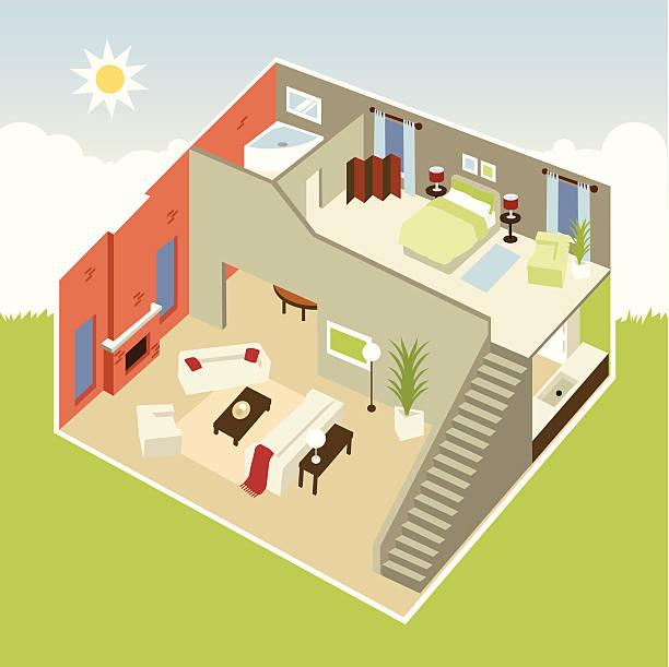 cube-apartment - gartensofa stock-grafiken, -clipart, -cartoons und -symbole