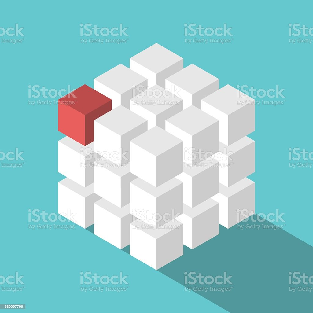 Cube assembled of blocks vector art illustration