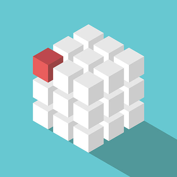 cube assembled of blocks - lego stock illustrations