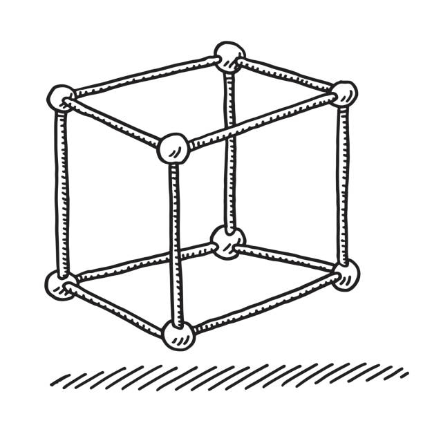 Cube Ball And Stick Model Drawing Hand-drawn vector drawing of a Cube Ball And Stick Model. Black-and-White sketch on a transparent background (.eps-file). Included files are EPS (v10) and Hi-Res JPG. abstract 3d stock illustrations