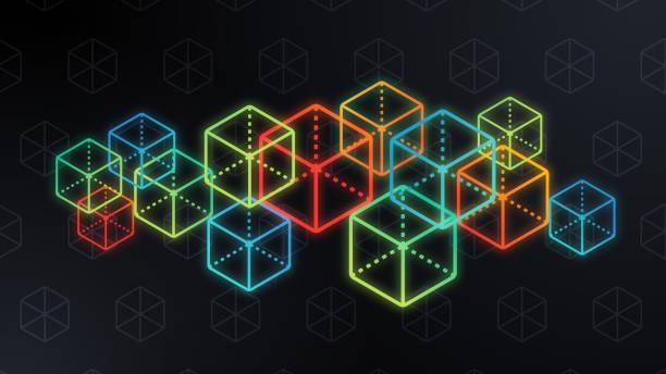 stockillustraties, clipart, cartoons en iconen met kubus blockchain abstract - blockchain