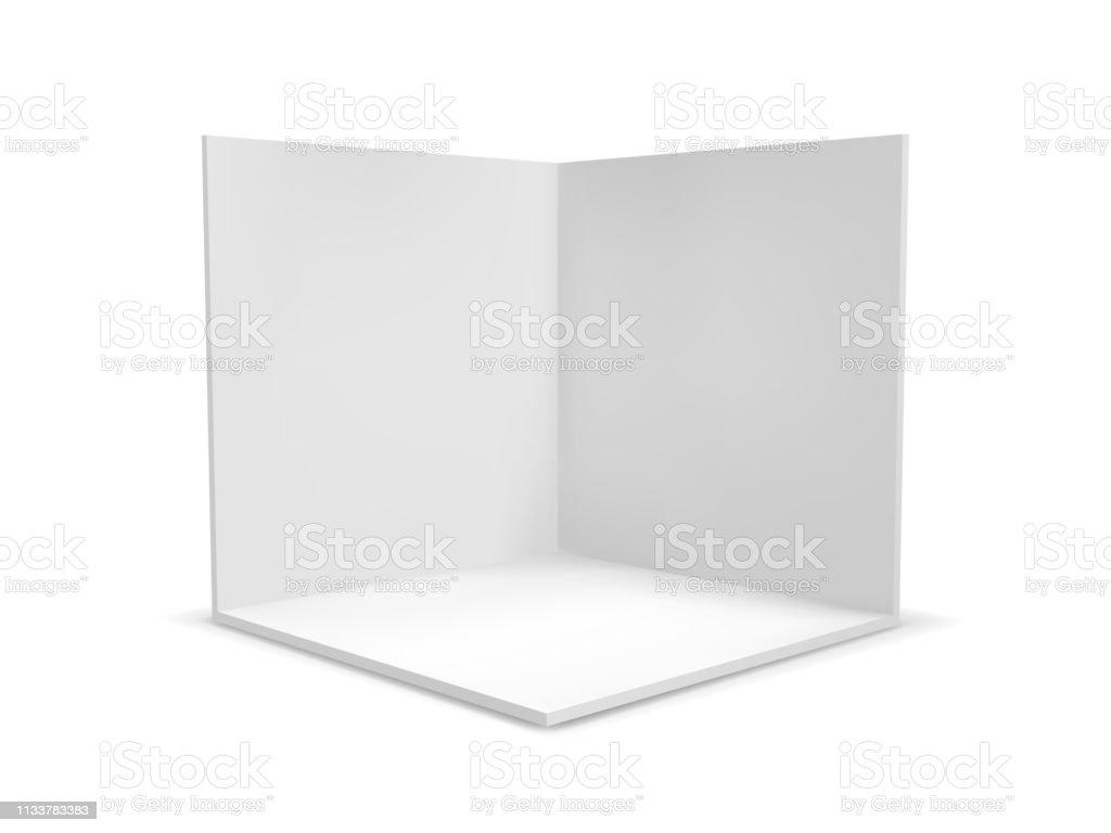 Cube box or corner room interior cross section. Vector white empty geometric square 3D blank box template - Grafika wektorowa royalty-free (Abstrakcja)