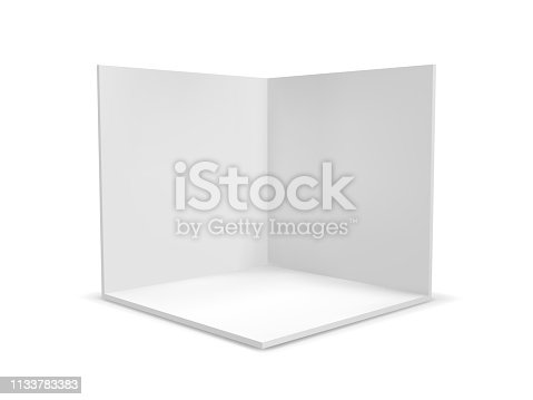 Cube box or corner room interior cross section. Vector white empty geometric square 3D blank box template
