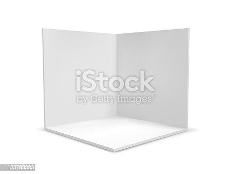 istock Cube box or corner room interior cross section. Vector white empty geometric square 3D blank box template 1133783383