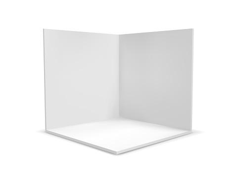 Cube Box Or Corner Room Interior Cross Section Vector White Empty Geometric Square 3d Blank Box Template - Stockowe grafiki wektorowe i więcej obrazów Abstrakcja