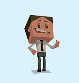 Cube businessman, smiling