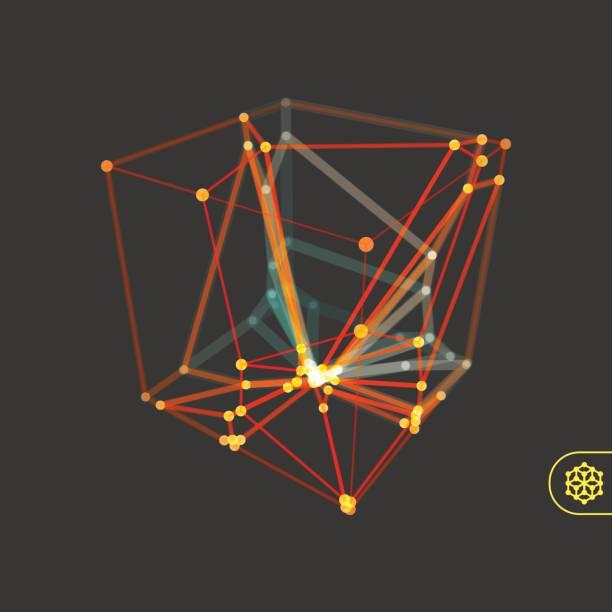 stockillustraties, clipart, cartoons en iconen met kubus. structuur van de verbinding. 3d grid ontwerp. moleculaire lattice. - veelvlakkig
