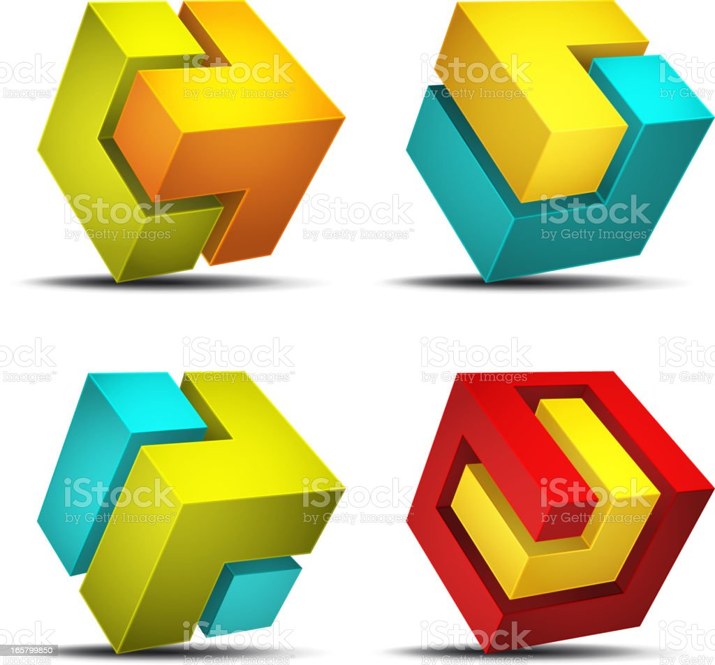 Cube design element vector art illustration