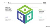 Cube diagram slide template. Element of chart, diagram with options, infographics. Concept for templates, presentation, report. Can be used for topics like business, strategy, analysis, planning