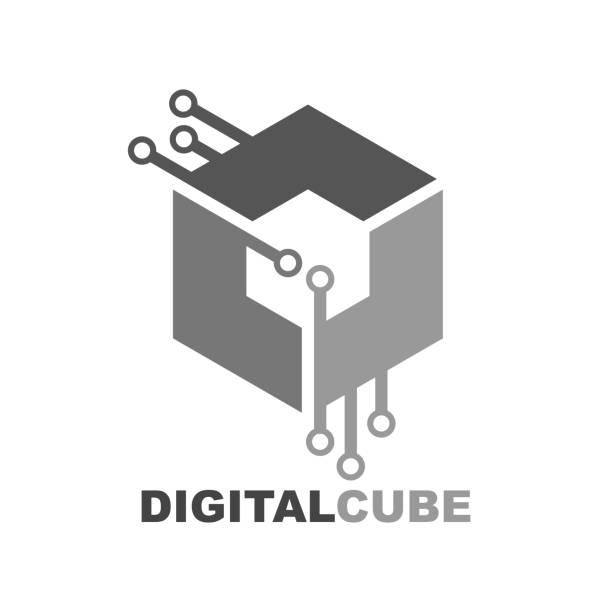 Cube digital technology logo icon vector template vector art illustration