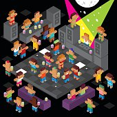 Isometric crazy disco dancing full of young people. people are cubic style stick men with very crazy and funky looks. Everyone is dacing, drinking and having fun. A lot of sexy ladies with swimsuit. There is a dj and dancefloor. Let's party! Ai10