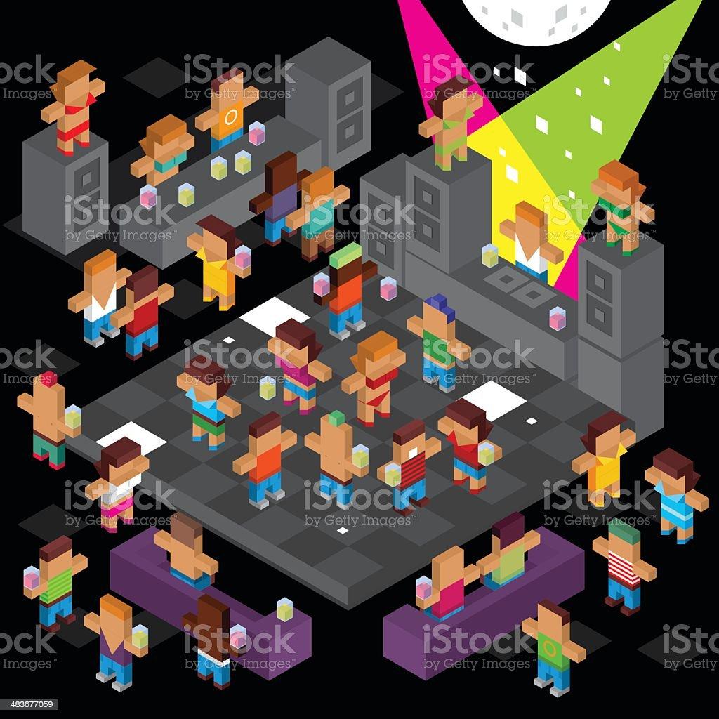 Cube disco dancing vector art illustration