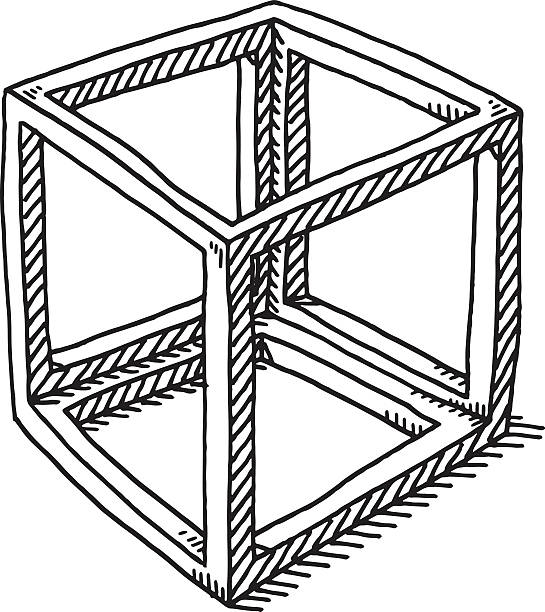 Cube Frame Abstract Drawing Hand-drawn vector drawing of an Abstract Cube Frame. Black-and-White sketch on a transparent background (.eps-file). Included files are EPS (v10) and Hi-Res JPG. abstract 3d stock illustrations