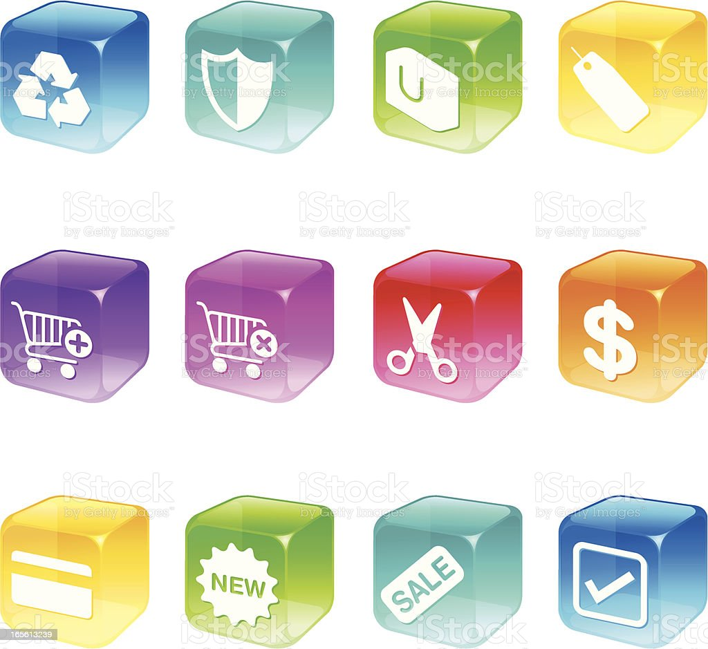 Cube Icons - Shopping Series royalty-free cube icons shopping series stock vector art & more images of banking