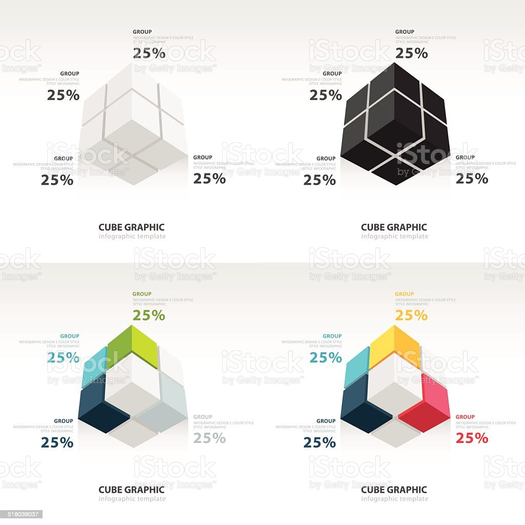 Cube Infographic Template Bottom View Set Stock Vector Art More Diagram Chart Data Graph Internet Single Object