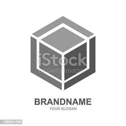 Cube logo design icon vector outbox. EPS 10